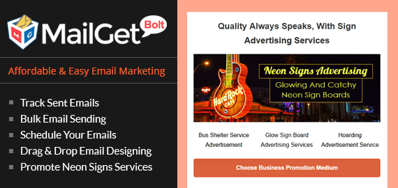 Neon Signs Email Marketing Service For Light Display Billboards