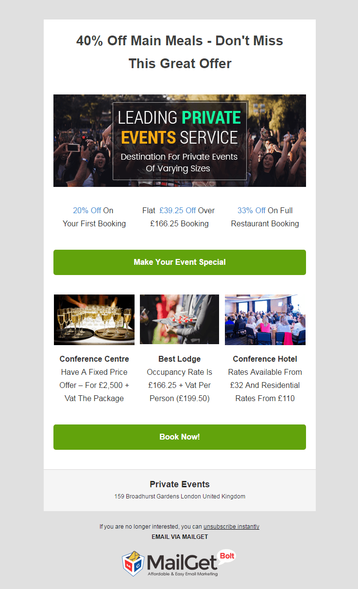 Email Marketing Service For Private Events & Banquet Managers
