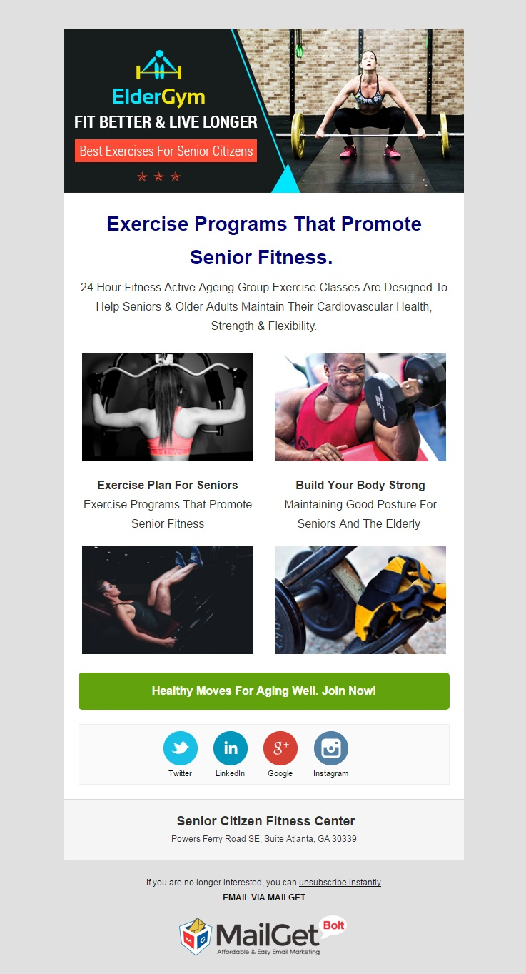 Email Marketing Service For Senior Citizen Fitness Clubs