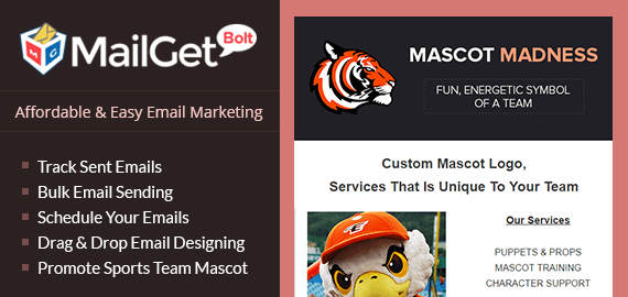 Email Marketing Service For Sports Team Mascot Slider