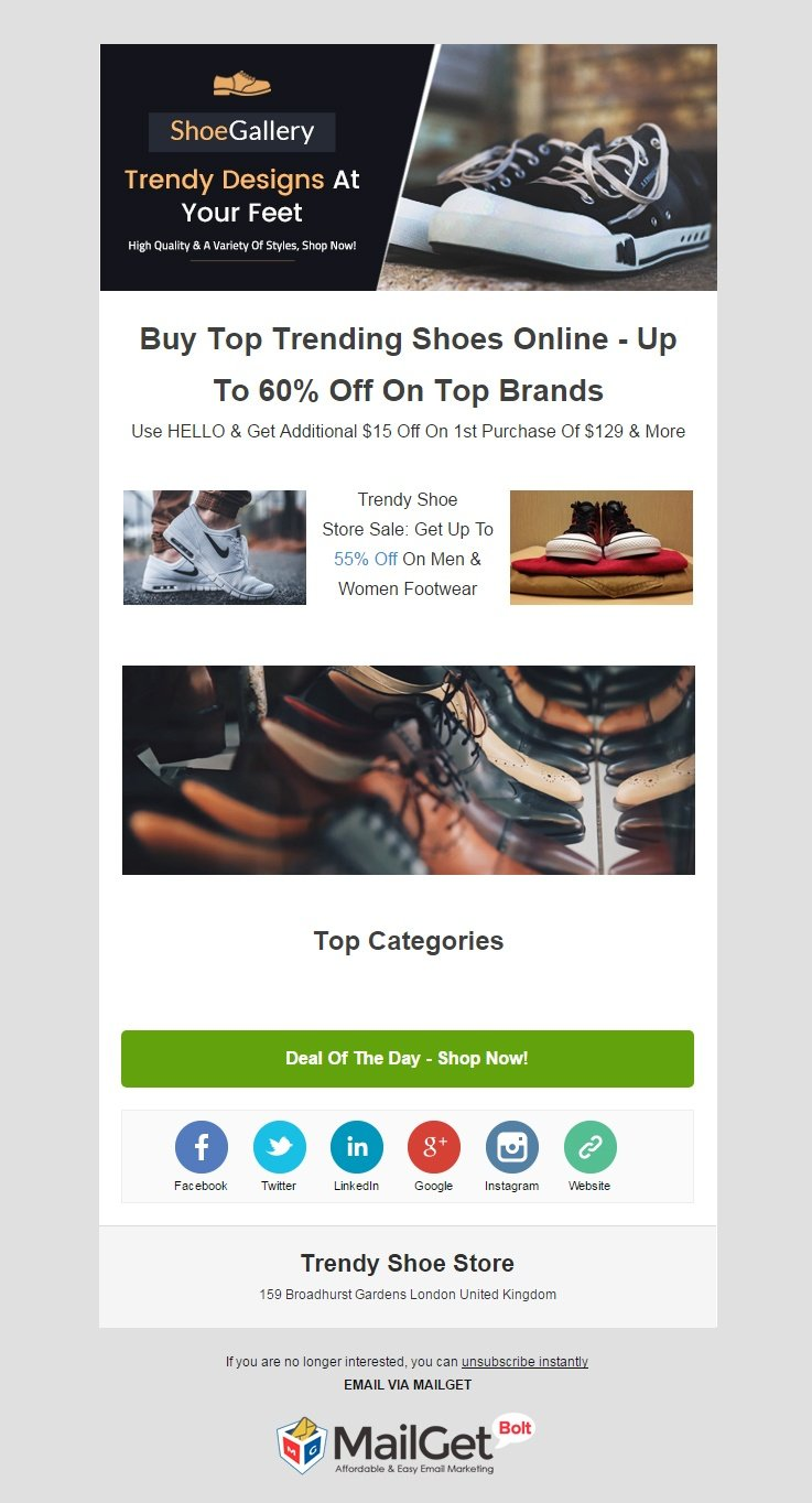 Email Marketing Service For Trendy Shoe & Boot Stores