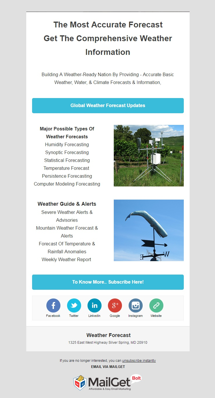 Email Marketing Service For Weather Forecast Channels