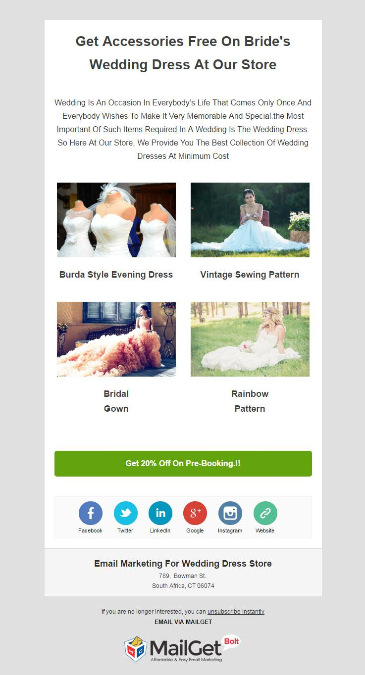 Email Marketing Service For Wedding & Marriage Dress Shops