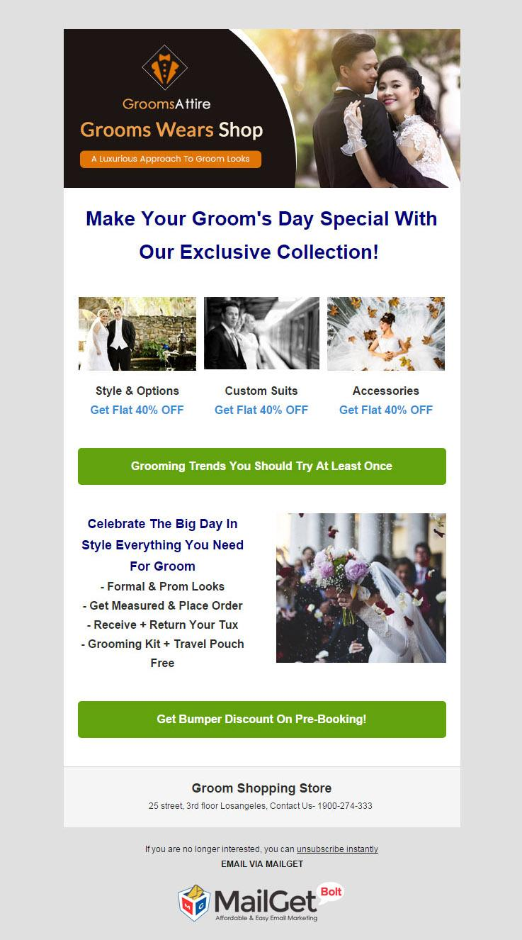 Email Marketing Software For Groom Shopping Outlets