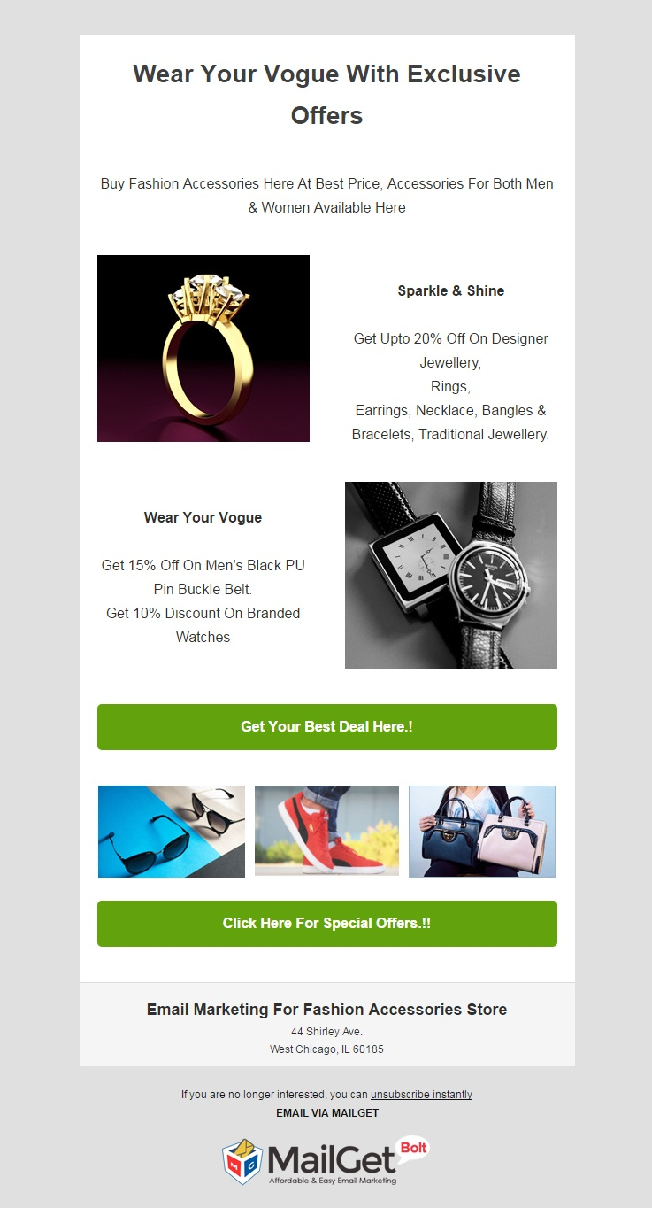 Email Marketing Solution For Fashion Accessories Stores