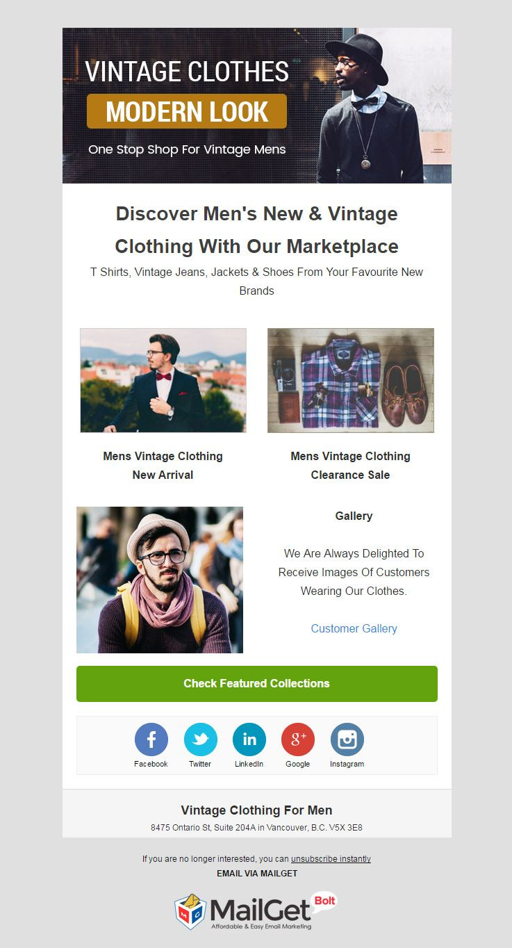 Email Marketing Solution For Vintage Clothing Shop For Men