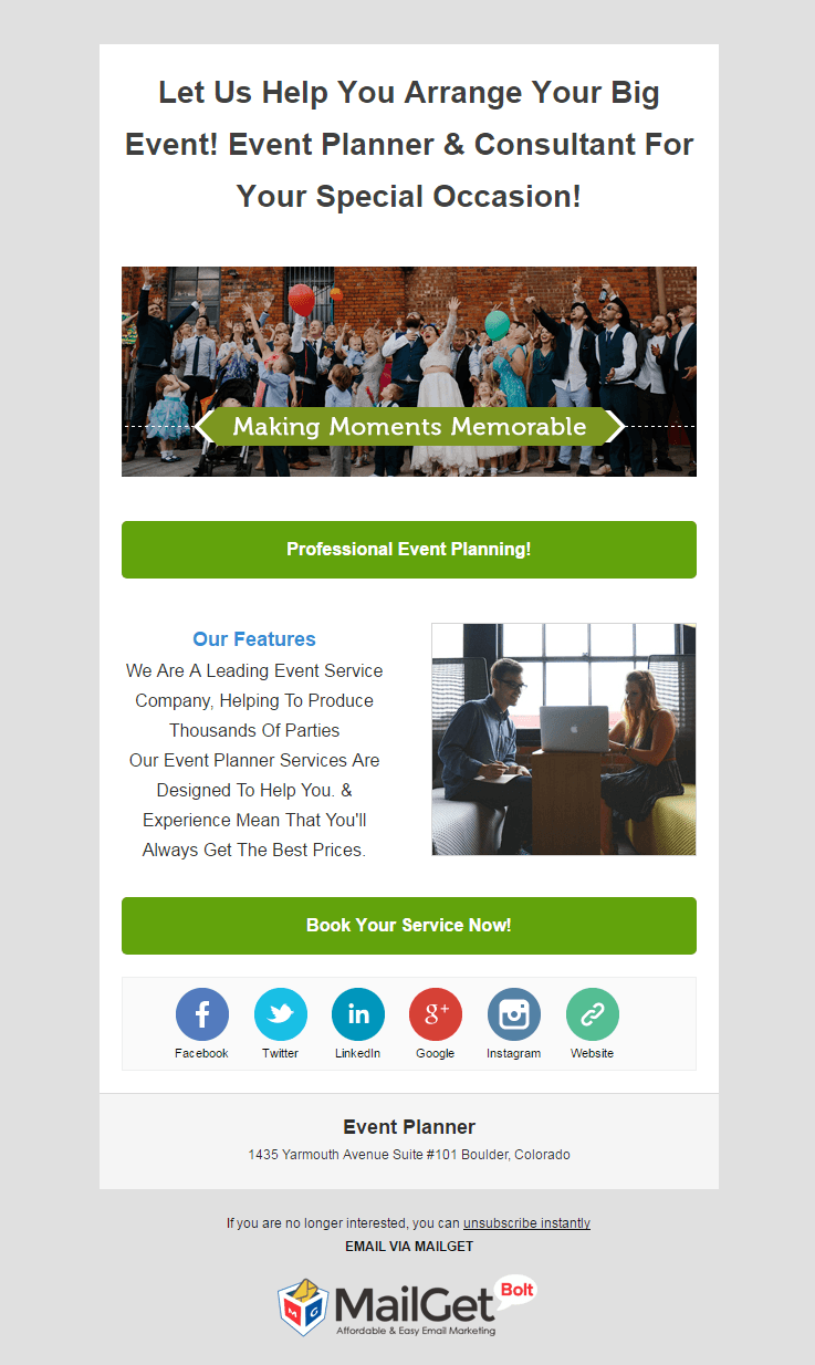 Email Marketing Solution Provider For Event Planners