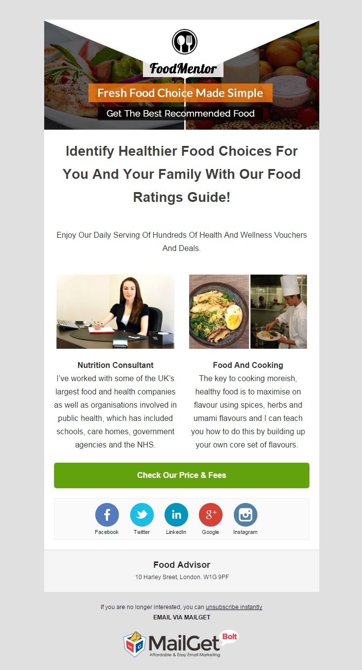 Email Marketing Solution Provider For Food & Diet Advisers