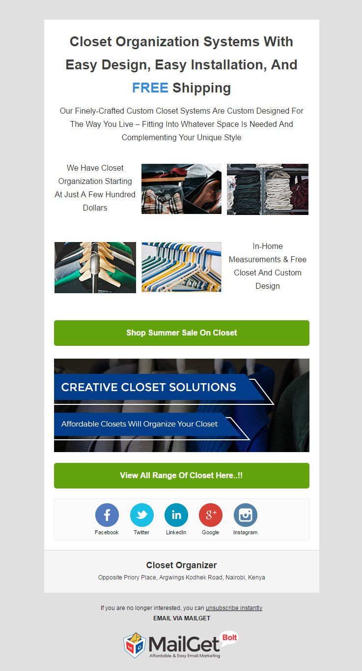 Email Marketing Tool For Closet & Wardrobe Managers