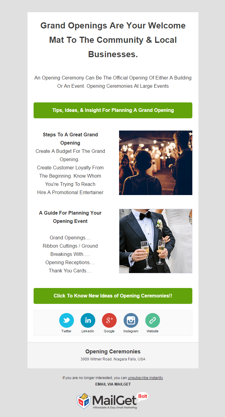 Email Marketing Tool For Opening & Inaugural Ceremony Organizers
