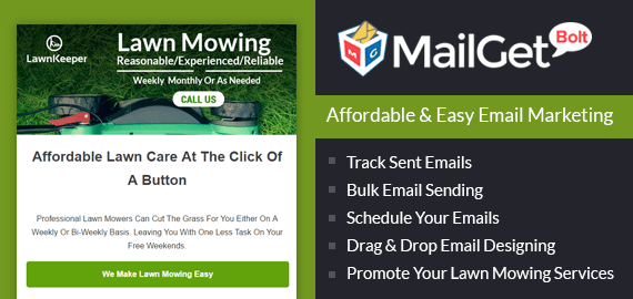 Email markerting for Lawn mowing Lawnkeeper Sales Slider