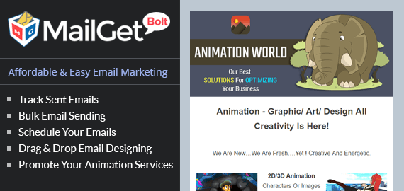 Email marketing for animation service Slider