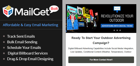 Email marketing for digital BillBoard Slider