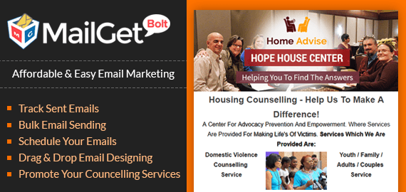 Email marketing for household counselling banner