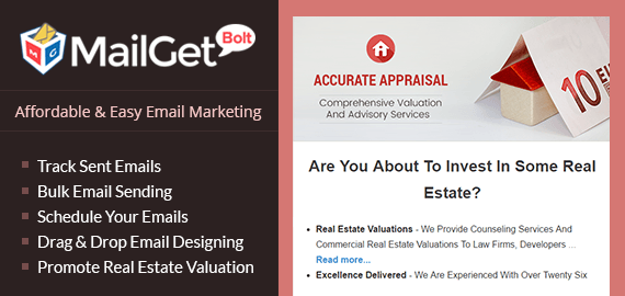 Email marketing for real estate valuation service Slider