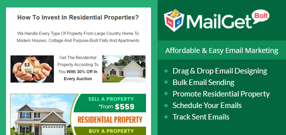 Email marketing for residential property Slider
