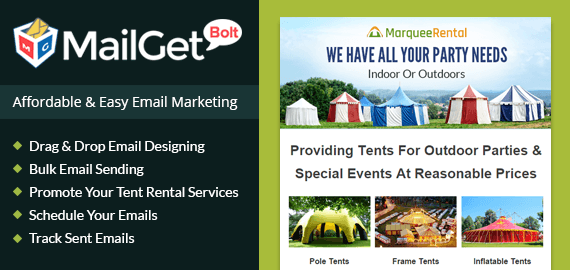 Email marketing for tent rental Slider-New