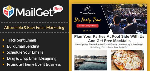 Email marketing for theme parties banner