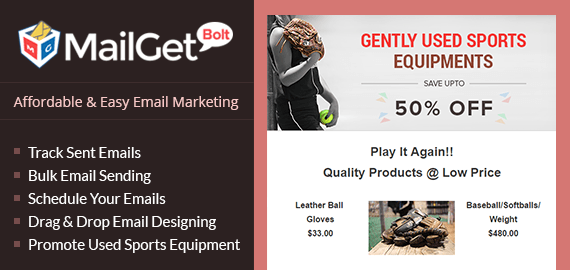 Email marketing service for used sports equipments Slider