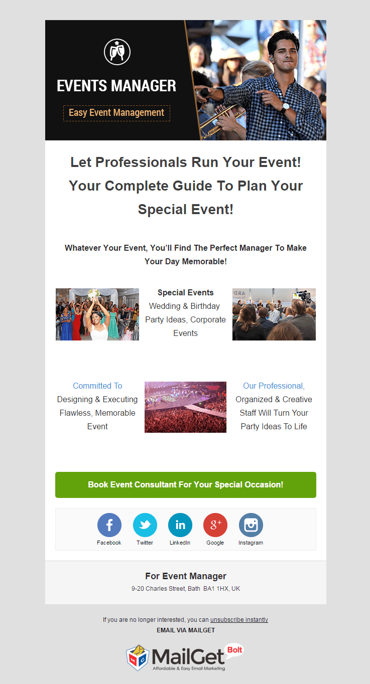 Event Manager Email Template