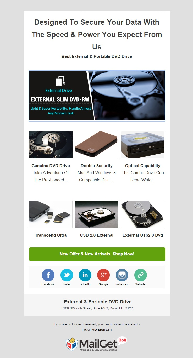 External & Portable DVD Email Template