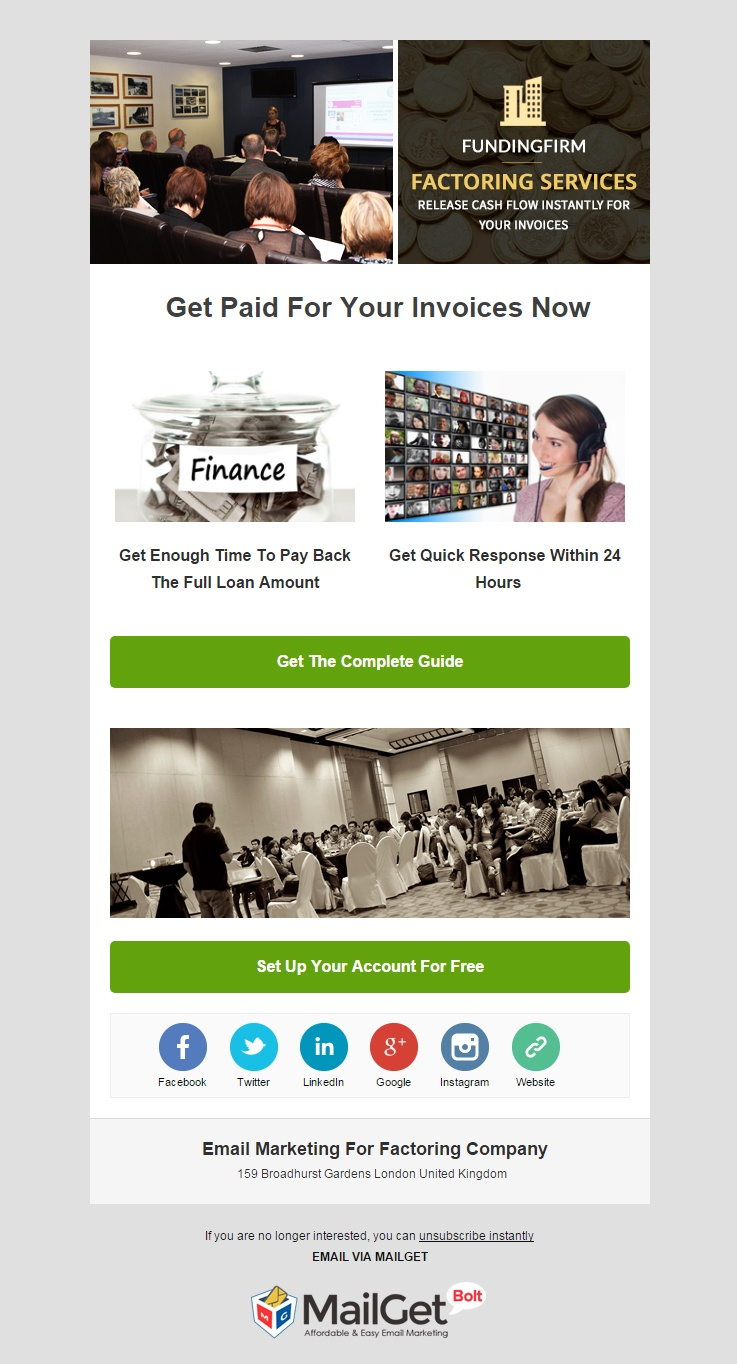 Factoring Company Email Template
