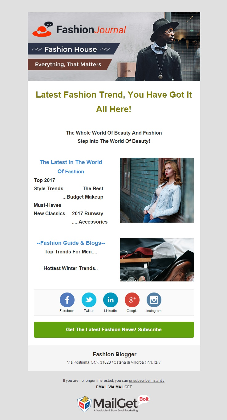 Fashion Blogger Email Template