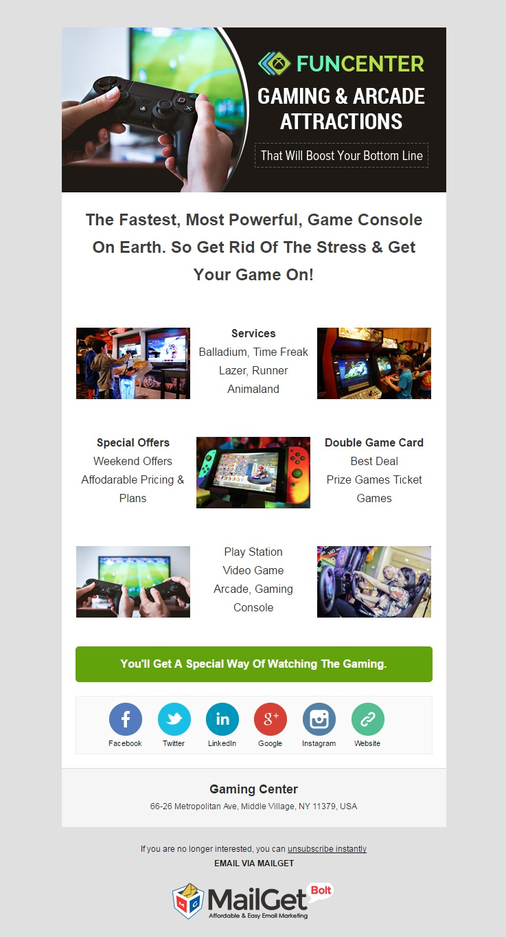 Gaming Center Email Templates