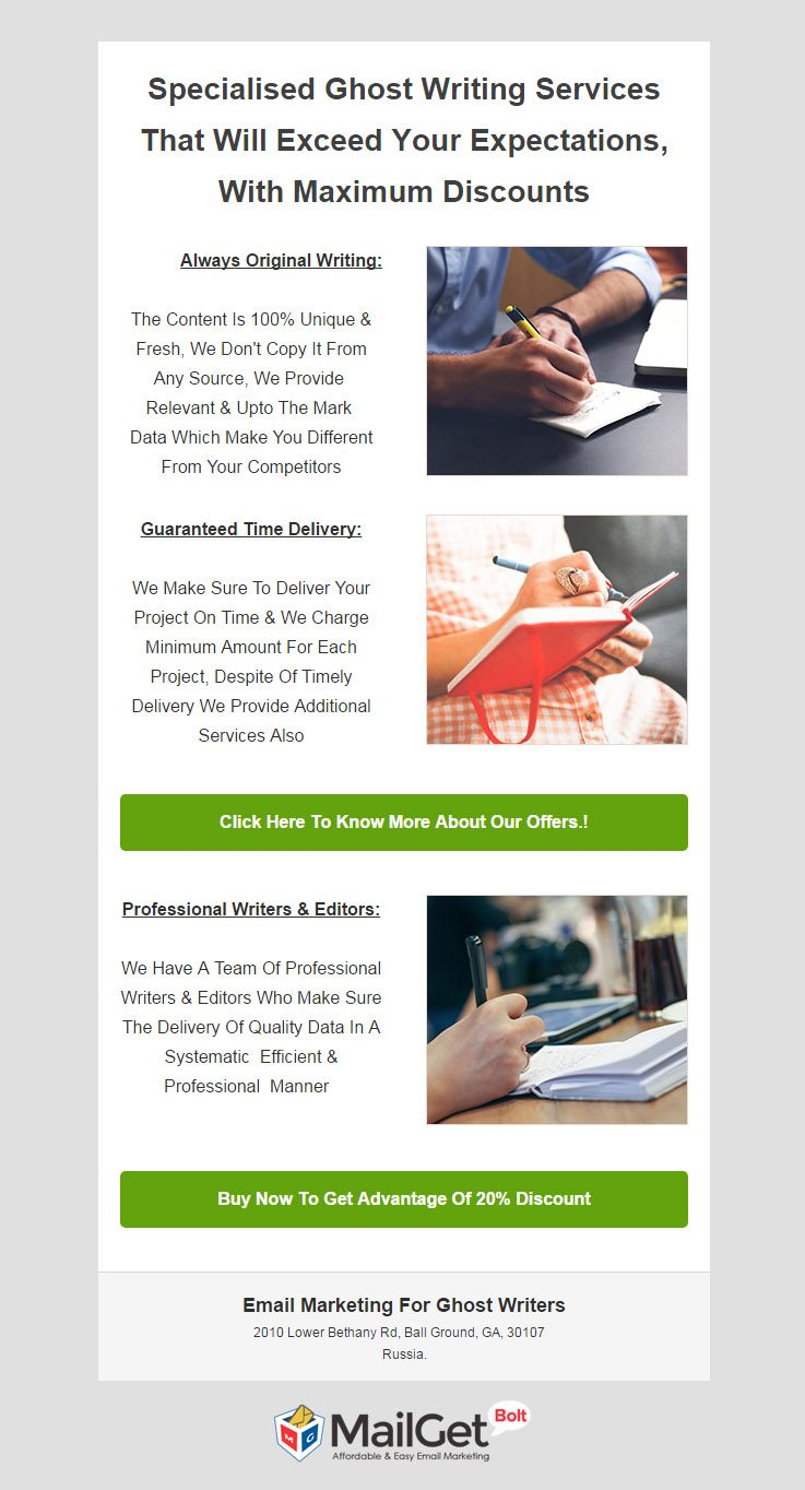 Ghost Writer Email Template