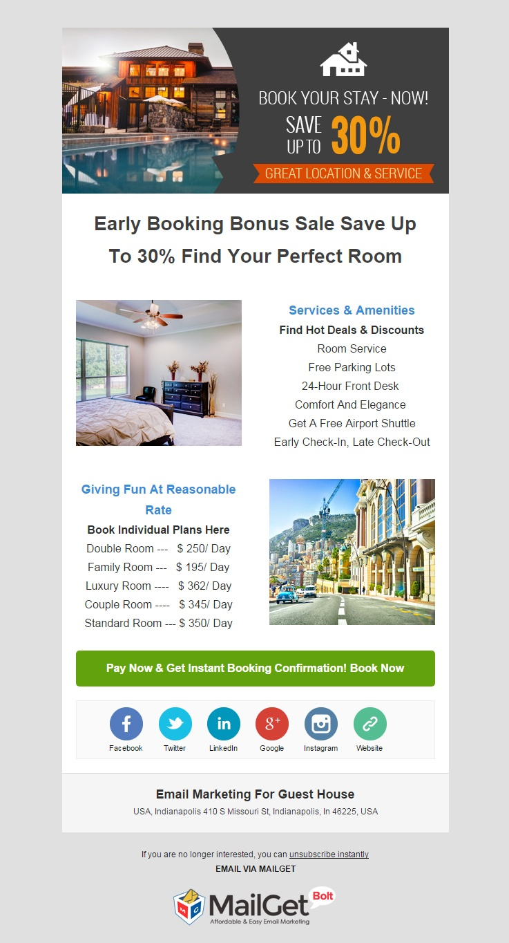 email marketing template for Guest House