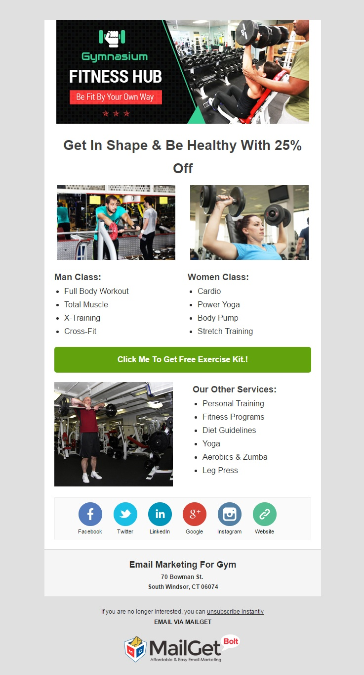 Best Fitness Email Templates For Gyms Trainers MailGet - Promotional mailer template