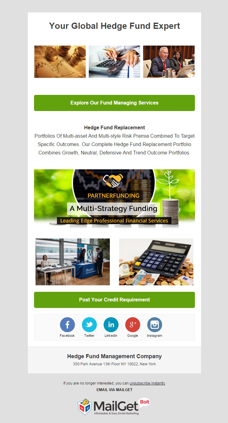 Hedge Fund Management Company Email Template