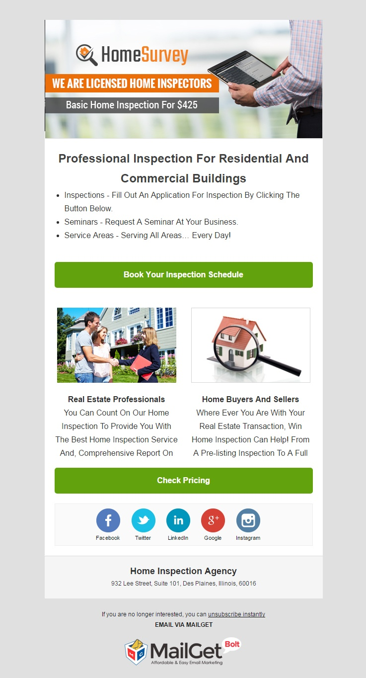 email marketing template for Home Inspection Service