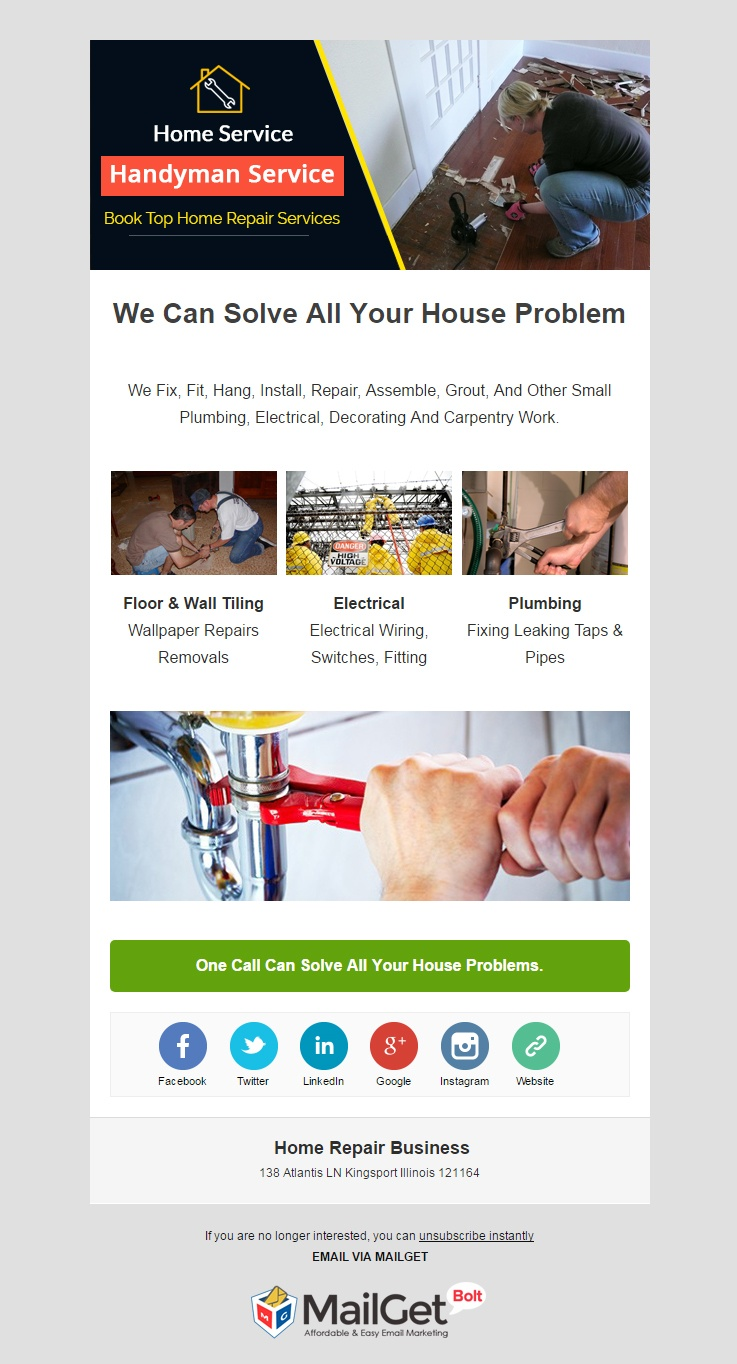 email marketing template for Home Repair Business