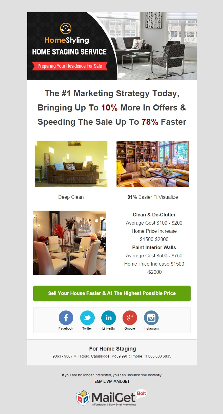 email marketing template for Home Staging