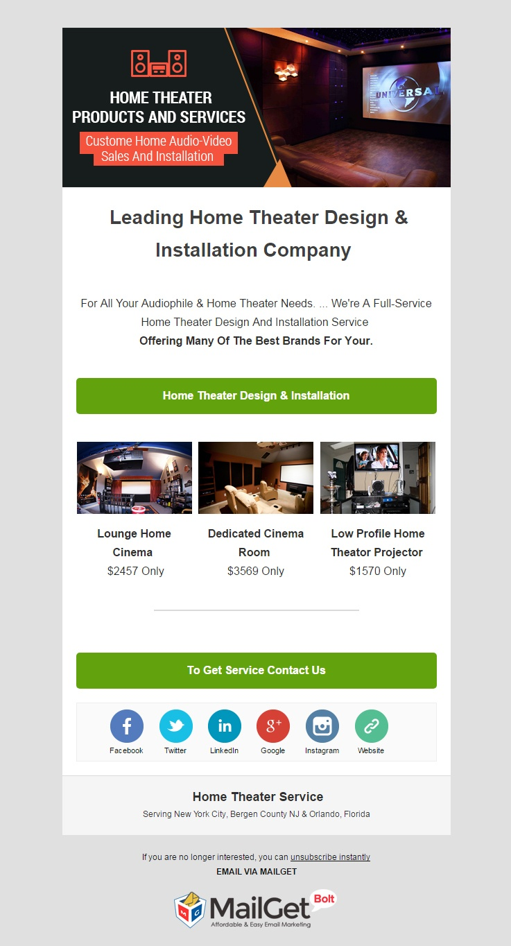 Home Theater Service Email Template