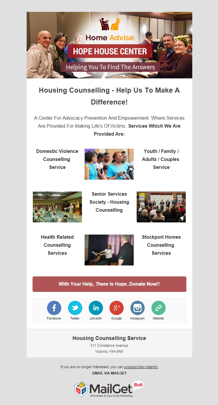 email marketing template for House Counselling Service
