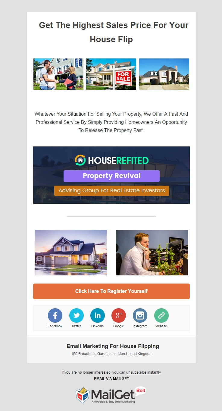 email marketing template for House Flipping