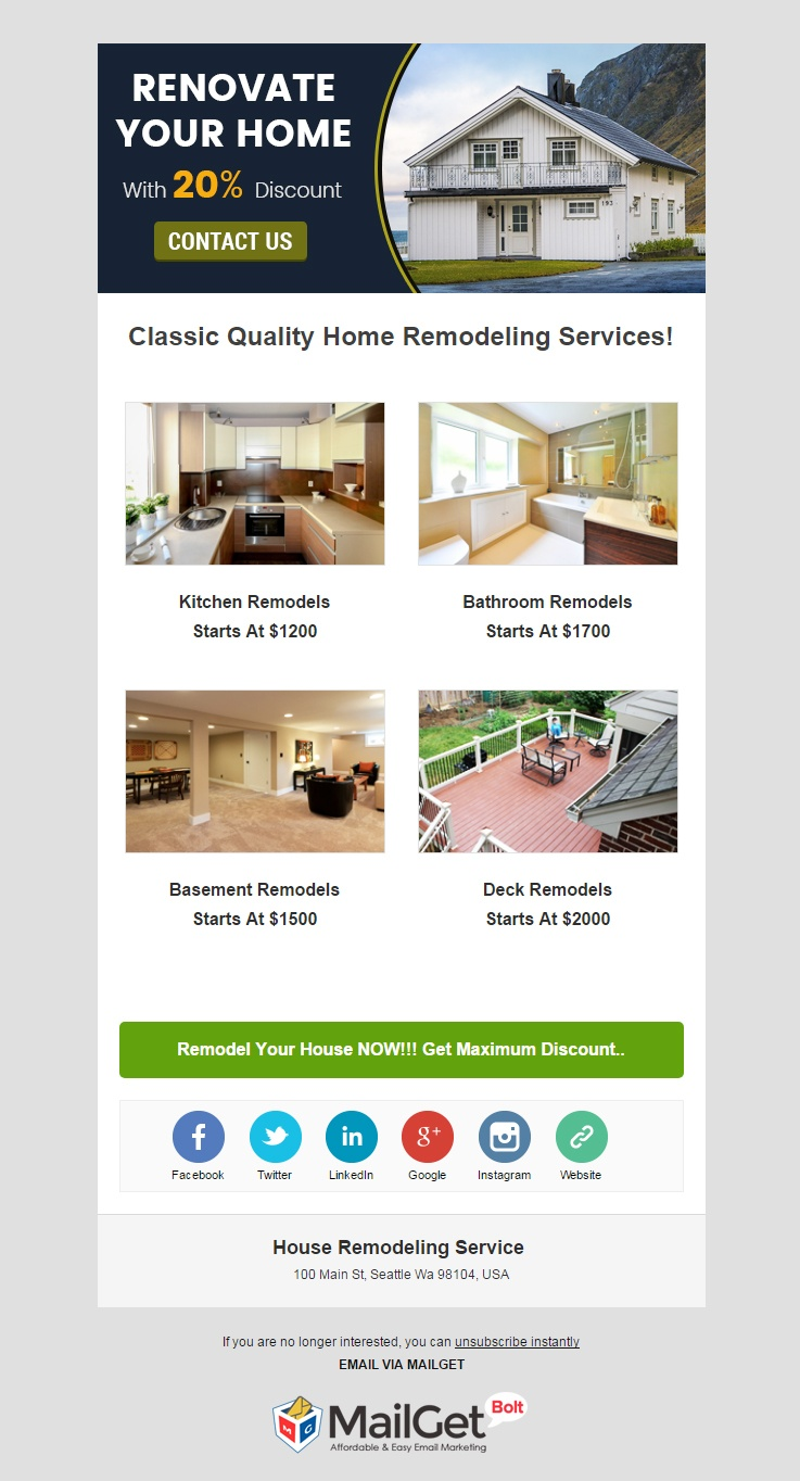 email marketing template for House Remodelling