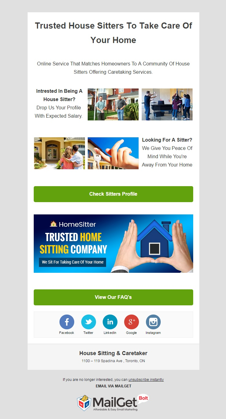 email marketing template for House Sitting & Care Taker