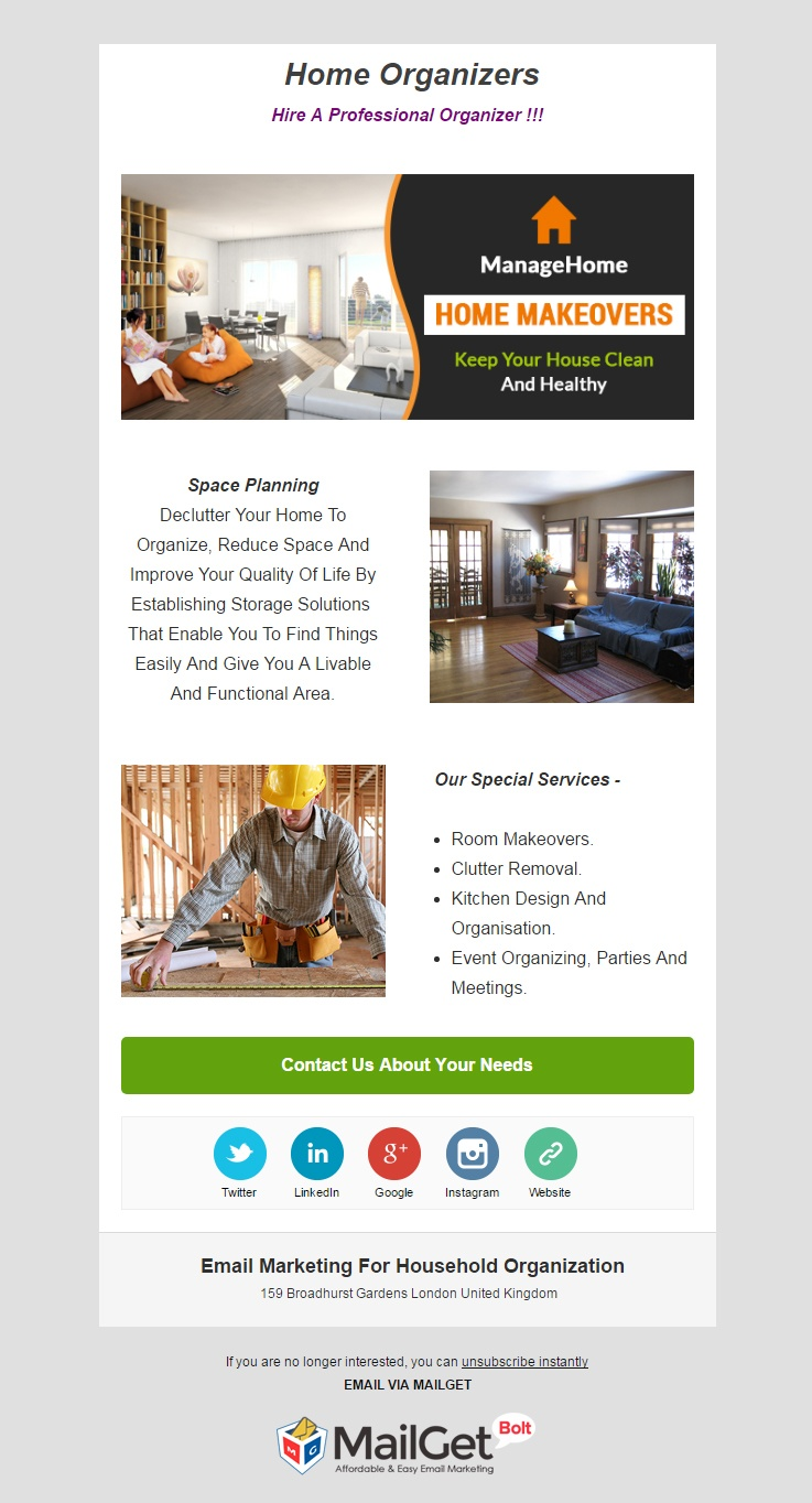 email marketing template for Household Organization