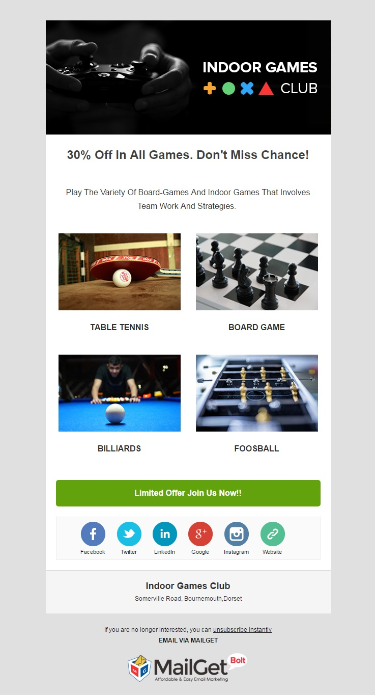Indoor Games Club Email Templates