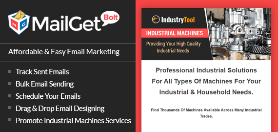 Industrial Machine Email Marketing Service Slider