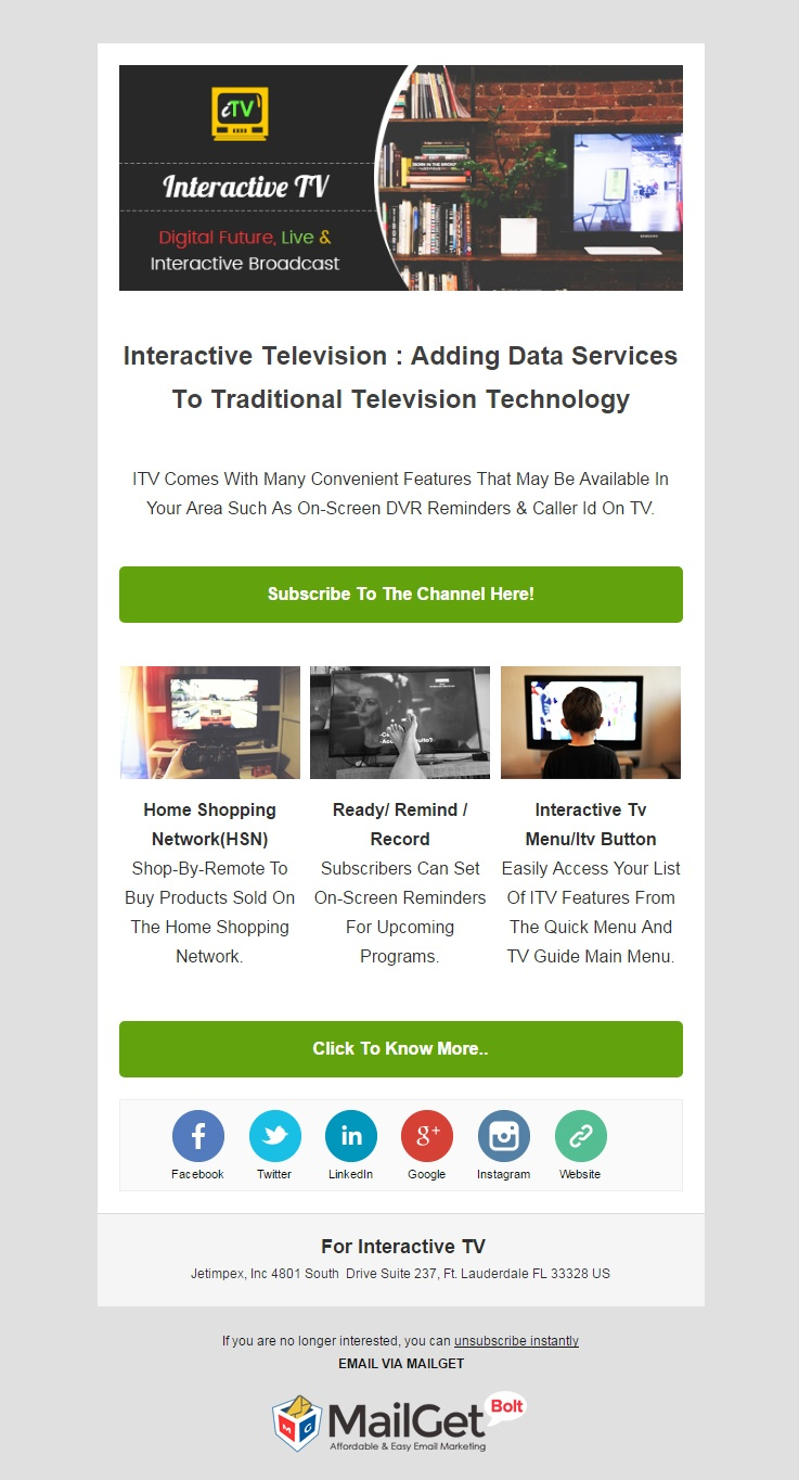 Interactive TV Email Template
