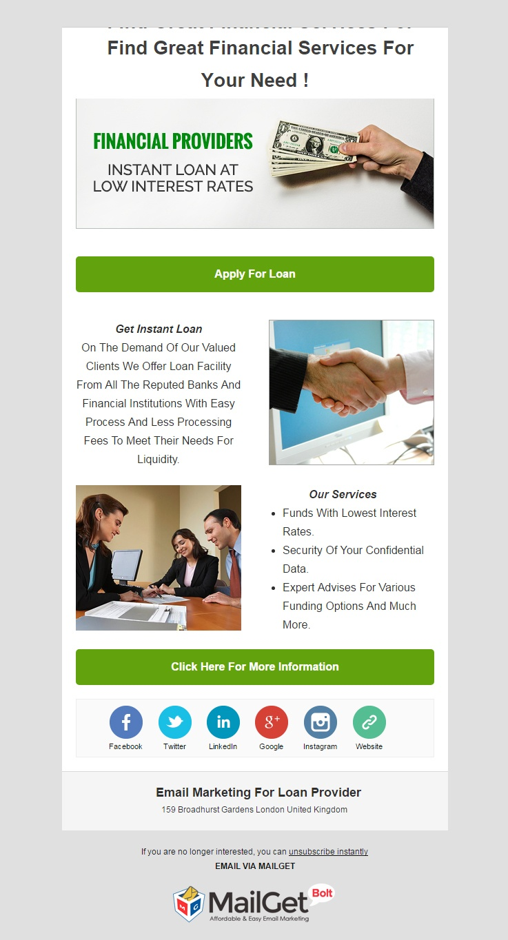 Loan Provider Email Template