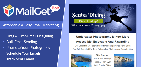 MailGet Bolt - Email Marketing For Under Water & Scuba Diving Photography
