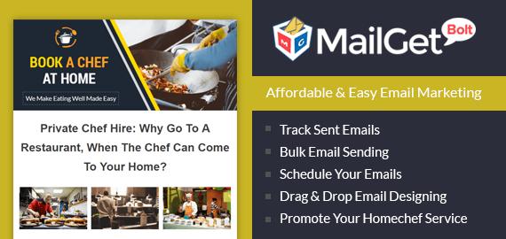 MailGet Bolt - Email Marketing Service For Home Chefs Slider