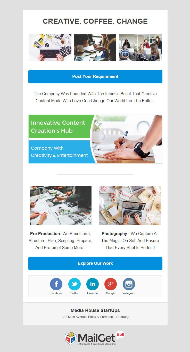 Media House Startups Email Templates