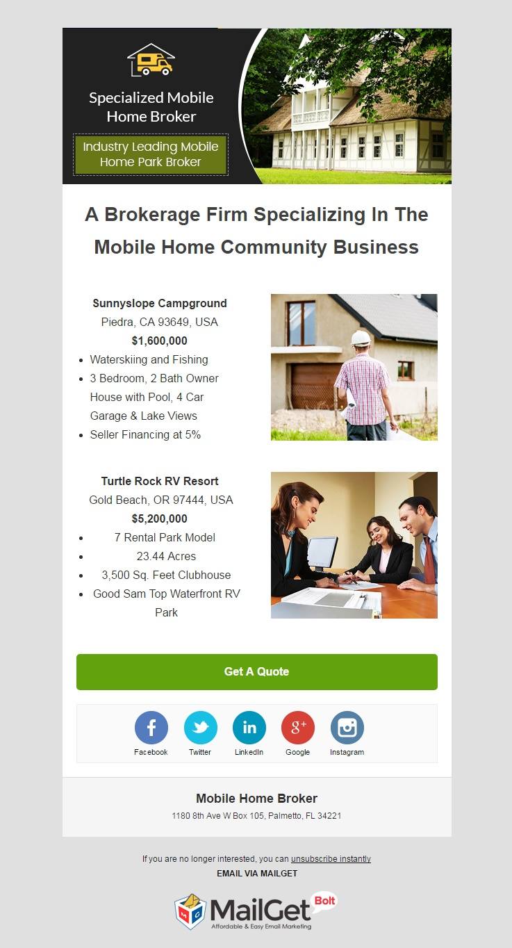 email marketing template for Mobile Home Broker