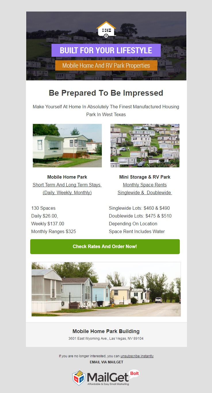 email marketing template for Mobile Home Park Building